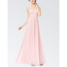 Elegant Sleeveless Long Chiffon Summer Bridesmaid Dress with Straps