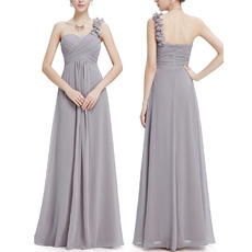 Affordable Elegant One Shoulder Long Chiffon Bridesmaid Dress