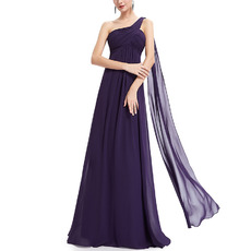 Elegant One Shoulder Long Purple Chiffon Bridesmaid/ Evening Dress