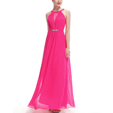 Inexpensive Trendy Sleeveless Long Chiffon Bridesmaid/ Formal Evening Dress