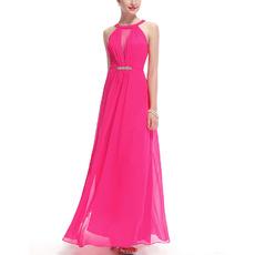 Inexpensive Trendy Sleeveless Long Chiffon Bridesmaid/ Formal Evening Dress