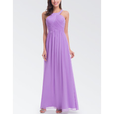 2018 Inexpensive Halter Sleeveless Floor Length Chiffon Bridesmaid Dress