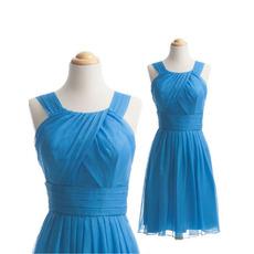 Classy A-Line Sleeveless Short Chiffon Bridesmaid Dress with Straps