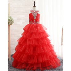 2018 Beautiful New Floor Length Layered Sequin Skirt Little Girls Party/ Pageant Dress