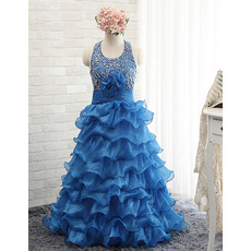 Girls Beautiful Halter Rhinestone Layered Skirt Blue Little Girls Party/ Pageant Dress