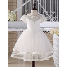 Pretty Ball Gown Knee Length First Communion Dress with Short Sleeves