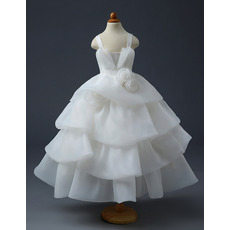 Pretty Ball Gown Tea Length Organza Layered Skirt Flower Girl Dress