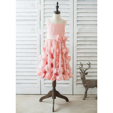 Beautiful Chiffon Easter/ Spring Little Girl Dress with Applique