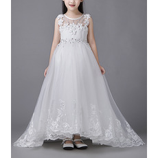 Affordable Stunning Sleeveless High-Low Organza Flower Girl Dress