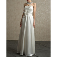 Modern Chic Beading Neck Full Length Satin Bridal Wedding Dress with Straps