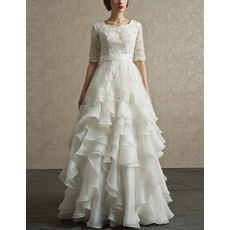 Luxury Full Length Chiffon Layered Skirt Wedding Dress with Half Sleeves