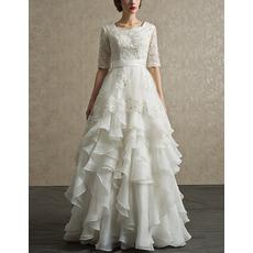 Luxury Full Length Chiffon Layered Skirt Wedding Dress with Half Sleeves