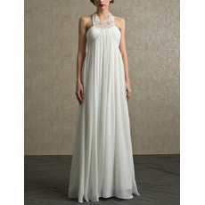 Sexy Column Halter Floor Length Chiffon Beach Wedding Dress