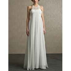 Sexy Column Halter Floor Length Chiffon Beach Wedding Dress