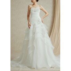 Inexpensive Timeless Sweetheart Sweep Train Chiffon Layered Skirt Wedding Dress