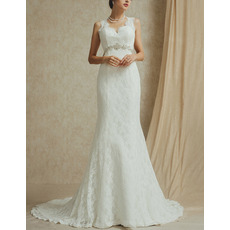 Elegant V-Neck Sleeveless Sweep Train Lace Open Back Wedding Dress