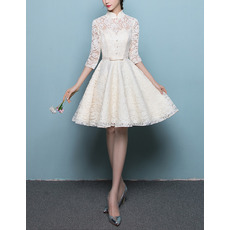 Affordable Mandarin Collar Lace Wedding Dress with 3/4 Long Sleeves