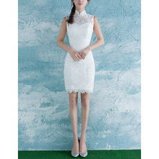 Modern Sheath Mandarin Collar Sleeveless Mini Lace Bridal Wedding Dress