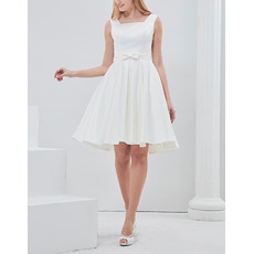 Simple A-Line Square Sleeveless Short Satin Reception Wedding Dress