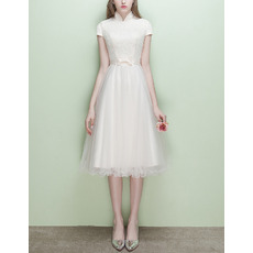 Modest Mandarin Collar Cap Sleeves Short Reception Wedding Dress