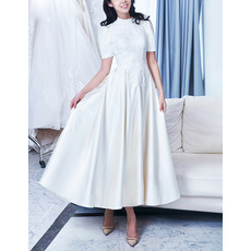 Vintage A-Line Ankle Length Satin Bridal Wedding Dress with Short Sleeves