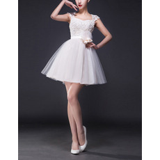 Vintage A-Line Sweetheart Mini Satin Tulle Short Wedding Dress