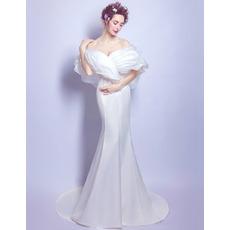 2018 Elegant Sheath Off-the-shoulder Sweep Train Satin Bridal Wedding Dress