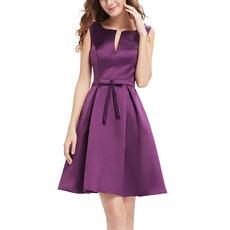 Affordable Sleeveless Short Satin Bridesmaid/ Homecoming Dress