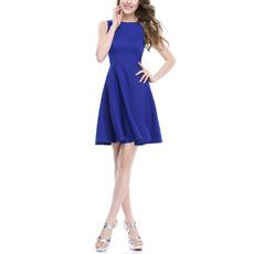 2018 Modest Sleeveless Short Satin Blue Bridesmaid Dress for Summer Wedding