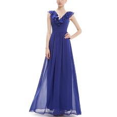 Vintage V-Neck Long Chiffon Ruffle Blue Bridesmaid Dress for Wedding