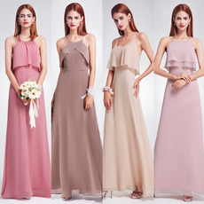 Amazing Spaghetti Straps Long Chiffon Bridesmaid Dress with Different Styles