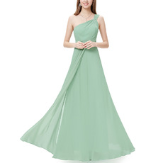 2018 Simple Style One Shoulder Long Chiffon Bridesmaid Dress for Wedding Party