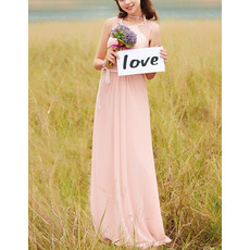 Affordable Sleeveless Long Chiffon Bridesmaid/ Prom Dress
