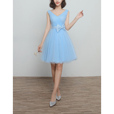 Affordable V-Neck Knee Length Satin Tulle Lace-Up Bridesmaid Wedding Dress
