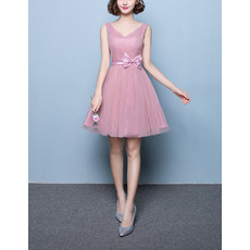 Affordable A-Line V-Neck Short Satin Tulle Bridesmaid Wedding Dress with Belt