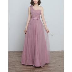 Modern One Shoulder Long Satin Tulle Bridesmaid Dress for Wedding