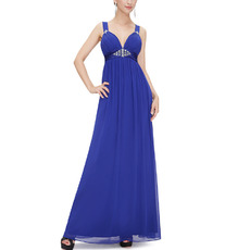 Sexy Sweetheart Long Chiffon Prom Evening Dress with Straps