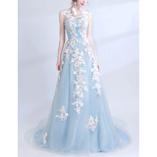 Women's Sleeveless Long Satin Tulle Formal Evening Dress with Applique