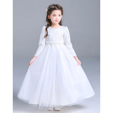 Inexpensive Girls Lovely Floor Length First Communion Dress with Long Sleeves