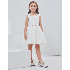 Inexpensive Cute A-Line Square Sleeveless Short Satin Flower Girl Dress