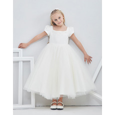2018 Beautiful Tea Length Flower Girl Dress with Bubble Sleeves