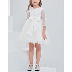 Little Girls Lovely Mini/ Short Flower Girl Dress with 3/4 Long Lace Sleeves