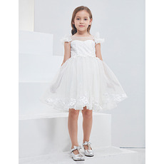 Kids Adorable Sleeveless Mini/ Short Organza Flower Girl Dress