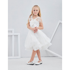 Pretty Lovely Knee Length White Lace Flower Girl/ First Communion Dress with Straps