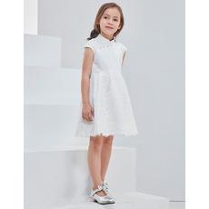 2018 New Classy Mandarin Collar Mini/ Short Flower Girl Dress