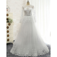 Vintage A-Line Floor Length Tulle Wedding Dress with Long Sleeves