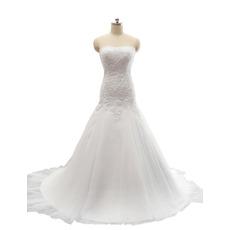 2018 New Style A-Line Sweetheart Court Train Satin Wedding Dress