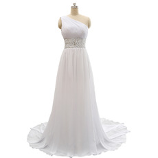 Custom One Shoulder Sweep Train Chiffon Lace-Up Wedding Dress
