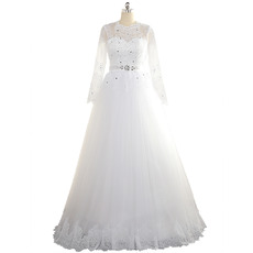 Affordable A-Line Floor Length Tulle Wedding Dress with Long Sleeves