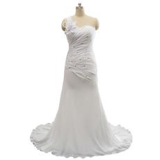 Sexy One Shoulder Sweetheart Sweep Train Chiffon Wedding Dress